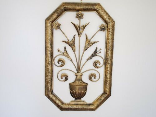 Hand Crafted Iron Metal Wall Art Mural Framed Vase Of Flower 65x40x2cm
