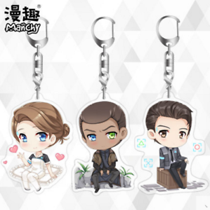 Details about Detroit: Become Human Connor Q Shape Keychain Key Ring  Double-sided acrylic