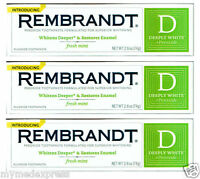 3 Pack Rembrandt Plus Peroxide, Toothpaste, 2.6oz 049336436008