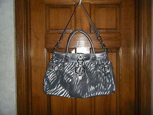Guess-by-Marciano-Silver-Blue-Animal-Print-Large-Shoulder-Handbag-Purse-DE027004