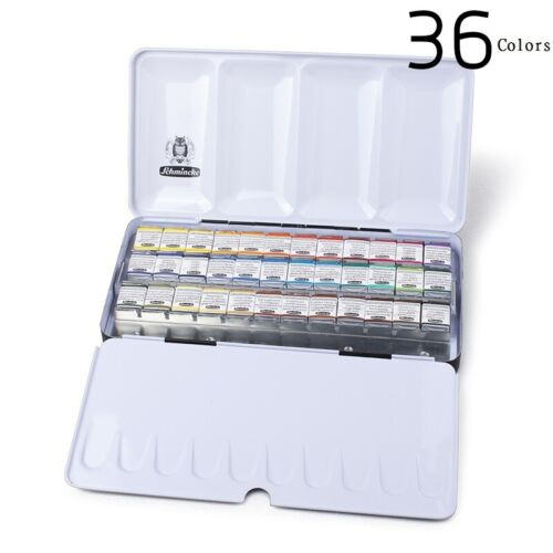 Schmincke Horadam Aquarell Artist Watercolor Metal Box Set of 36 Half Pans 74436