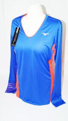 * Nuovo * Mizuno Premium Aero Long Sleeve Blu T-shirt Donna Taglia L Tennis Classic New-