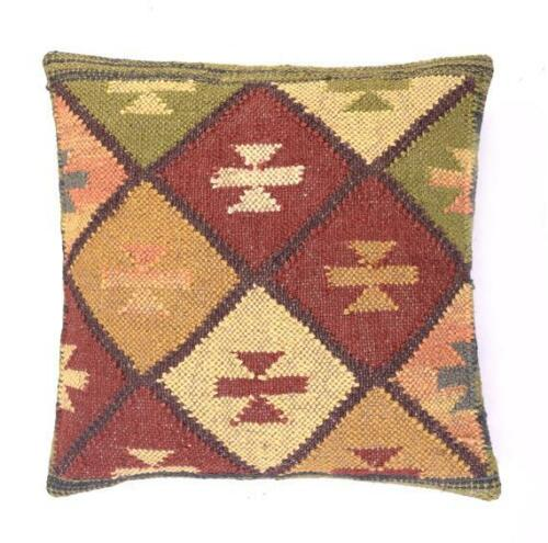 Handmade Colorful Decor Rug Pillow Cover Jute Cushions Kilim Throw Size 18*18/""