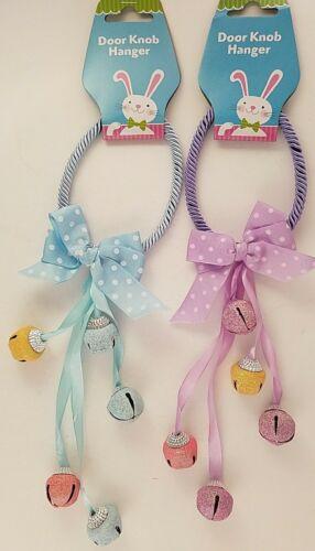 "Easter Jingle Bell Door Knob Hangers 11-12"" Purple or Both Select Blue"