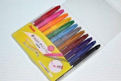 Pentel Fude Touch brush  Sign Pen 12 colors BOX SET