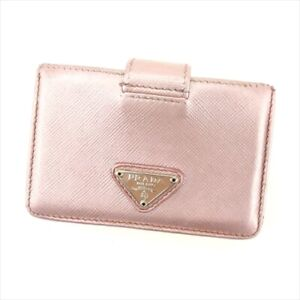 a43d4800 Details about Prada ID Wallet Pink Silver Safi Arno leather Woman Authentic  Used F1481