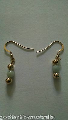 Green Jade Gold Earrings A Grade Natural Jadeite with gold filled ball