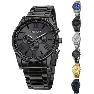 Men-039-s-Akribos-XXIV-AK736-Quartz-Multifunction-Stainless-Steel-Braclet-Watch