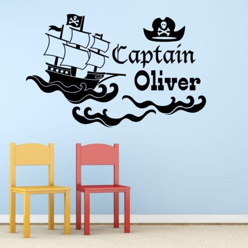 Pegatina De Vinilo Pared Arte Pirata Personalizado Mural Calcomanía-cualquier nombre