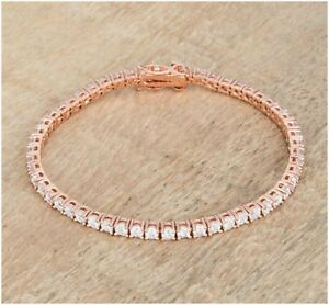 Vintage-1920s-9-Ct-Round-White-Cut-Diamond-14k-Rose-Gold-Over-7-034-Tennis-Bracelet