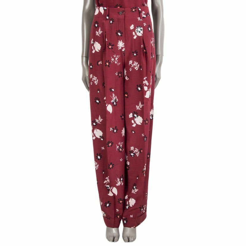 55688 auth VALENTINO raspberry silk FLORAL PLEATED WIDE-LEG Pants 42 M