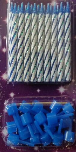 18 pack avec paillettes et porte 7cm tall-anniversaire Bleu spirale bougies