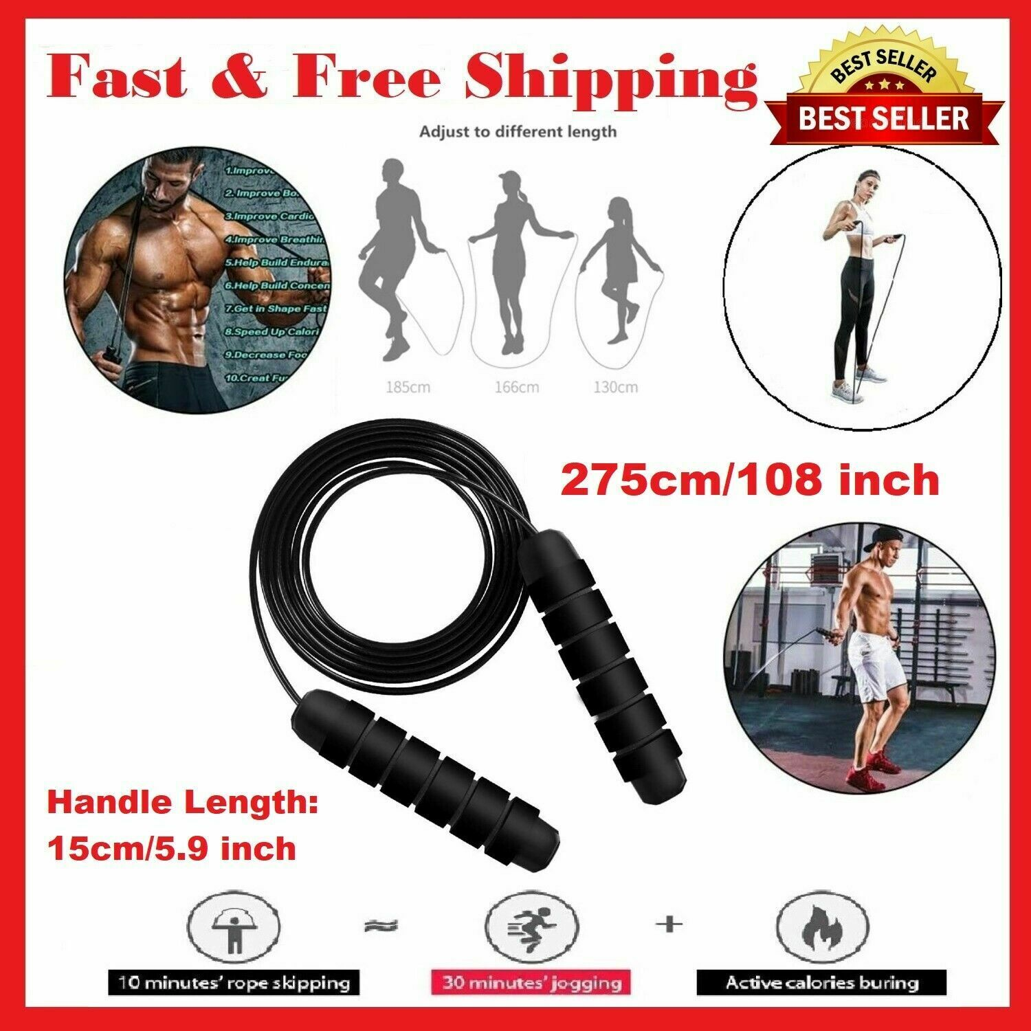 Jump Rope Exercise Boxing Skipping Weighted Adult Ball Workout Gym Fitness Speed