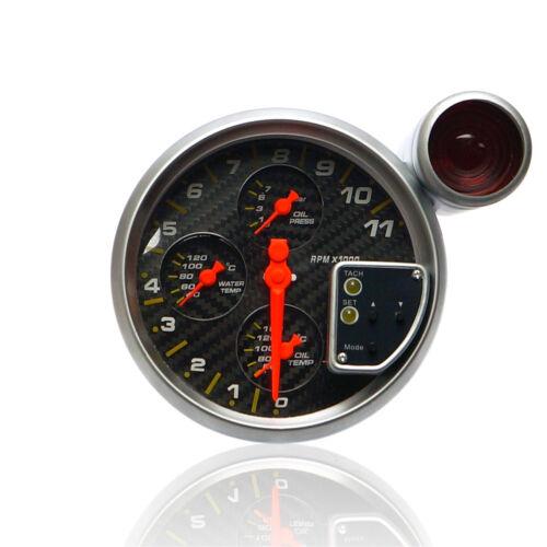 """Drehzahlmesser 5/"""" 4in1 Öldruck-Öl+Wassertempinstrument DZM RPM 4in1 Gauge Carbon"""