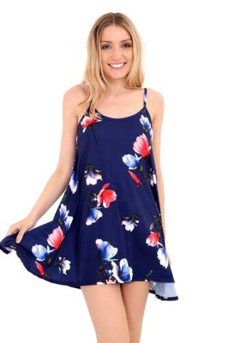 Cami Con Correas Sin Mangas Estampado Largo Swing Dress Vest Top para mujeres más tamaño 8-26