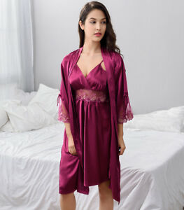 d951f7e74bb9 Free ship Purple Dark Red Silk Blend Women Sleepwear Robe  Gown Sets ...