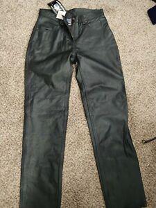 Allstate Cuero Negro Genuino Cuero Moto Pantalones Talla 14 Ebay