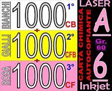 3000 FOGLI 3 COPIE CARTA CARBONE CHIMICA BIANC GIALL ROSA STAMPA LASER INKJET A6