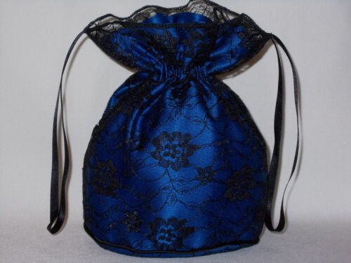 prom evening wear Black lace and royal blue satin dolly bag for bridesmaids