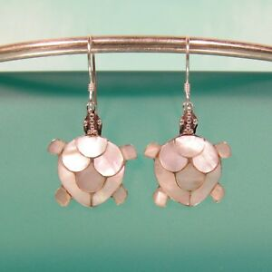 Natural-White-Mother-of-Pearl-Shell-Turtle-Handmade-Earring-925-Sterling-Silver