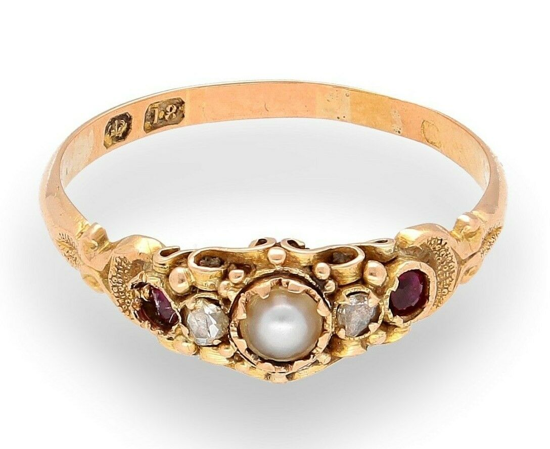 Antique 18Carat Yellow gold Pearl, Ruby & Diamond Cluster Ring (Size Q)
