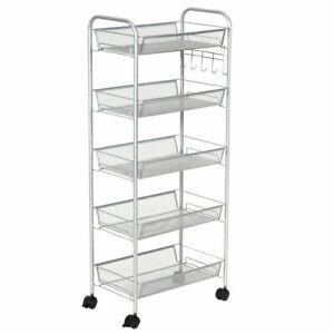 5 Tier Storage Rack Trolley Cart Home Kitchen Organizer Utility Baskets Sliver