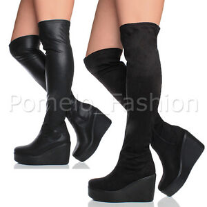 WOMENS-LADIES-CHUNKY-BLOCK-PLATFORM-HIGH-HEEL-WEDGE-OVER-THE-KNEE-BOOTS-SIZE