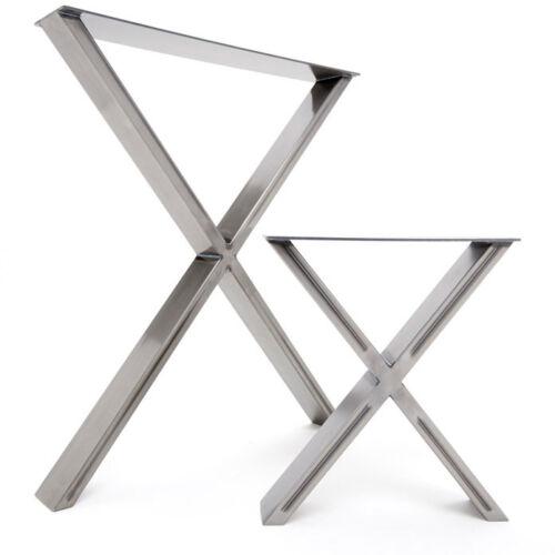 Auffallendes /'X/' Design 2 x Tisch /& Bank Stahl Tischbeine