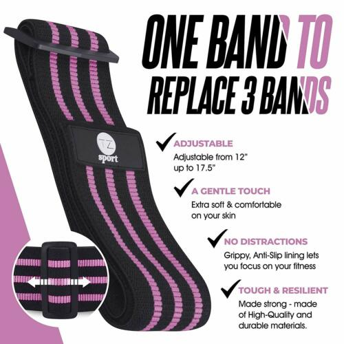 Adjustable Hip Resistance Band 2 Bonus Core Sliders Booty Bands Pink TZ Sport
