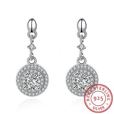 Fashion 925 Sterling Silver Rhinestone Dangling Earrings Ear Stud Women's Jewery