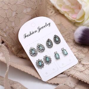4Pairs-Set-Dazzling-Earrings-Cubic-Zirconia-Blue-Crystal-Flower-Ear-Stud-Jewelry