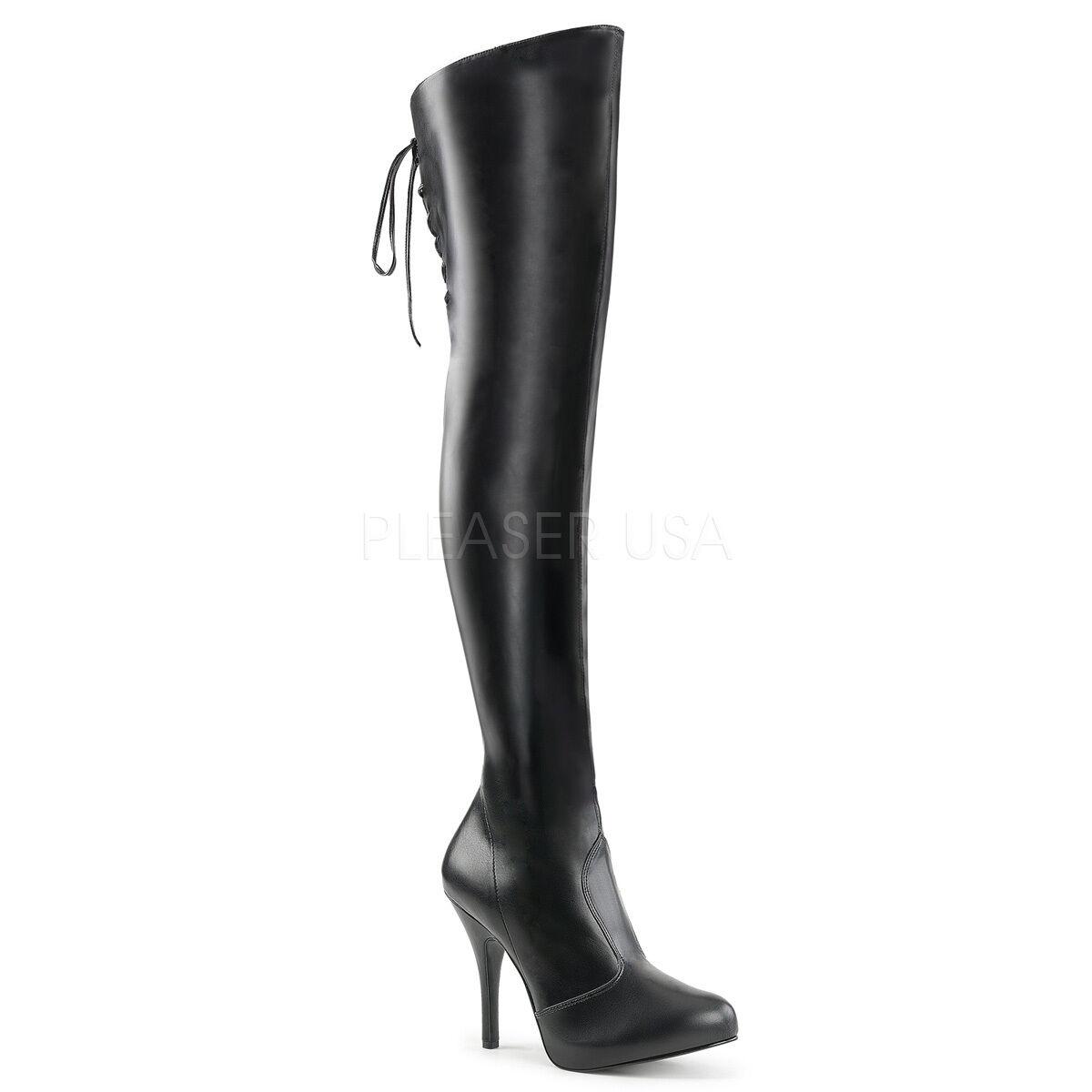 Sexy Tacón De De De 5  Negro Mate Oculta Plataforma botas de alto del muslo Lazada trasera Detalle  protección post-venta
