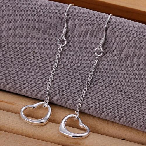1.2 CM WT Stunning Silver Plated Long Heart Dangle Drop Earrings 5.5 CM