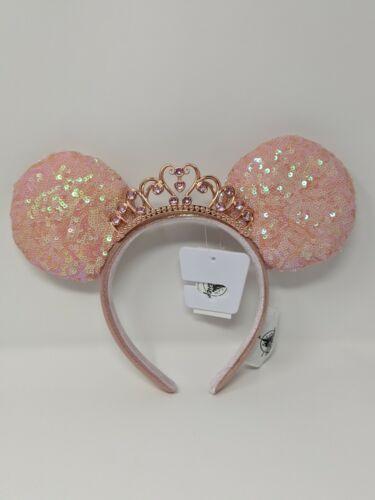 Disney Princess Jeweled Tiara Coral Pink Minnie Mouse Ears Disney Parks NWT
