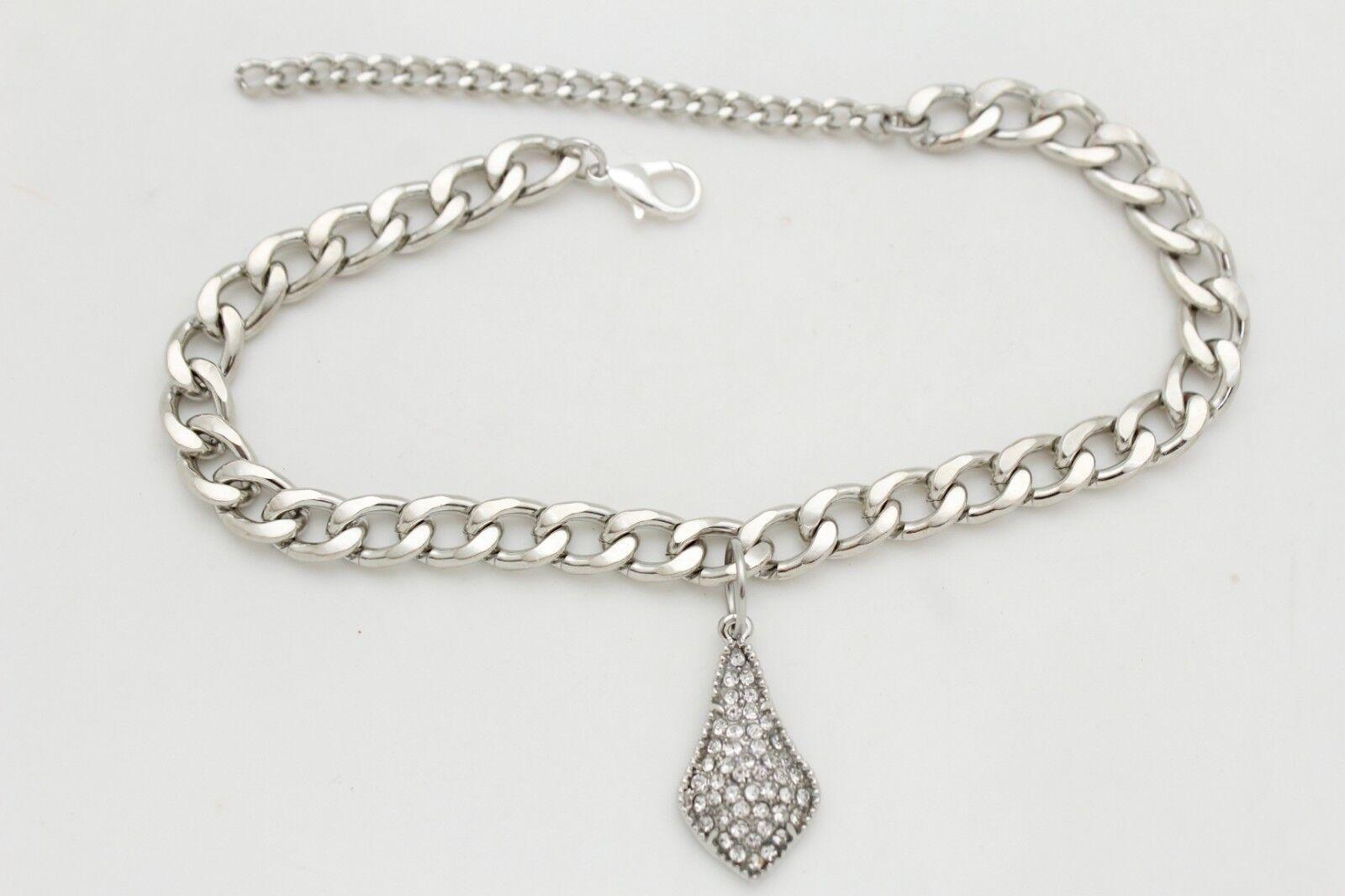 Women Boot Chain Bracelet Western Shoe Bow Tie Drop Charm Jewelry Silver Color