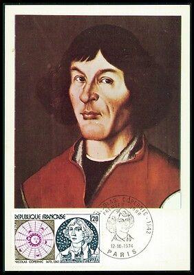 Briefmarken France Mk 1974 Kopernikus Copernicus Copernic Carte Maximum Card Mc Cm Be03 Den Speichel Auffrischen Und Bereichern
