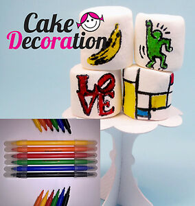 6x-EDIBLE-PEN-WRITER-Food-Pens-Color-Marker-DOUBLE-SIDED-Cake-Sugarpaste-Cupcake