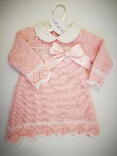 Spanish Style Baby Girl Knitted Dress Mabini  Bow Pink white 0-3 3-6  6-9 m