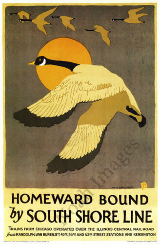 Homeward Bound vintage South Shore Line poster repro 16x24