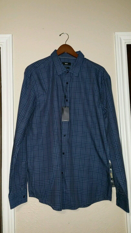 New Mens Hugo Boss  Ronnie  bluee Plaid Shirt M Slim Fit