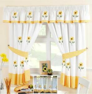 sunflower yellow & white voile cafe net curtain panel kitchen