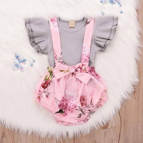 Newborn Infant Baby Girls Cotton Printed Strap Romper Suit Playsuit Outfits UK