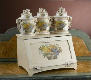 Porta pane in legno e barattoli ceramica avorio decoro frutta via veneto cucina ebay - Barattoli pasta cucina ...