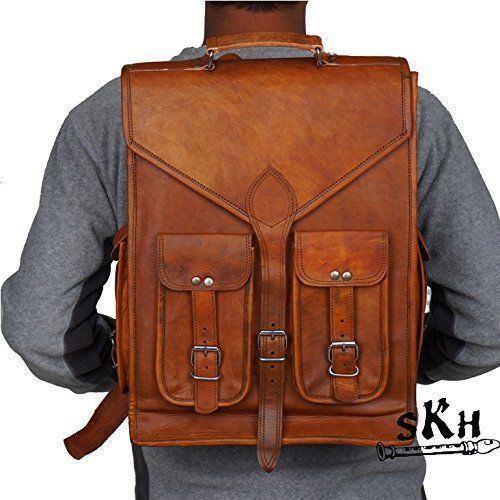 "16/"" mens womens Genuine Leather big large backpack rucksack laptop Collage bag"