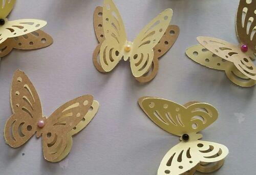 24x 3D Rustique Mariage Enterrement Vie Jeune Fille 3D Papillons Décorations de table vintage