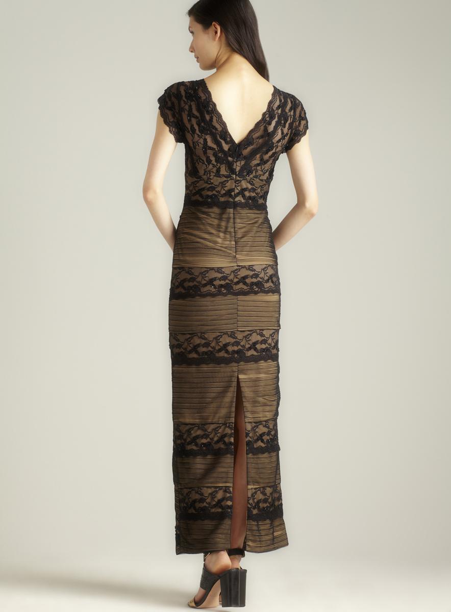 Marina Long Beaded Lace Dress sz 4 ny