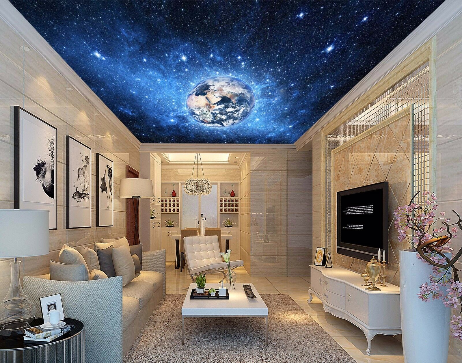 3D Stars Earth 43 Ceiling WallPaper Murals Wall Print Decal Deco AJ WALLPAPER UK
