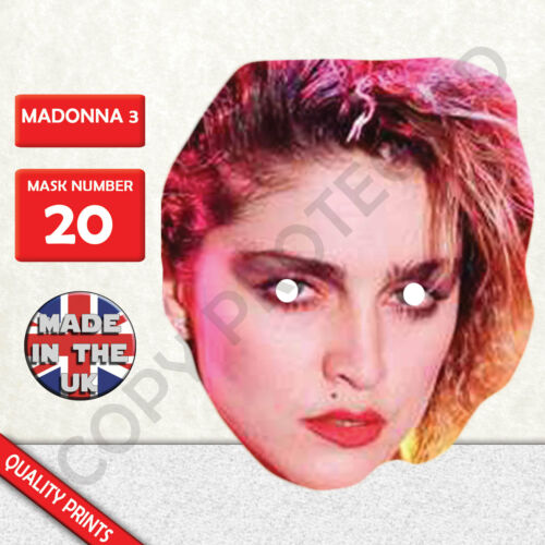 Madonna 1980 Celebrity Singer Card Mask Fun For Parties 2