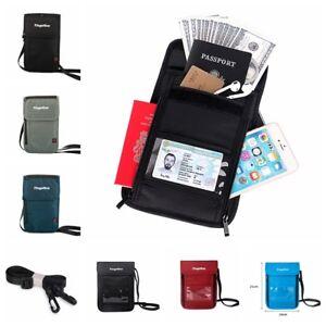 RFID-Blocking-Passport-Holder-Waterproof-ID-Storage-Card-Bag-Travel-Neck-Wallet