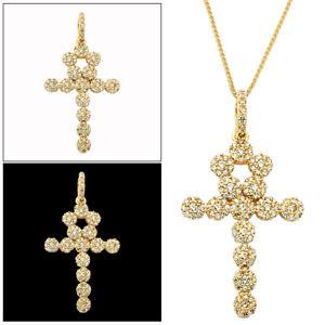 Real-10K-Yellow-Gold-Jesus-Ankh-Cross-CZ-Pendant-Charm-3-00-Gram